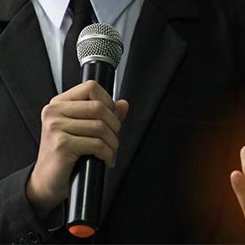 Keynote speaker with microphone